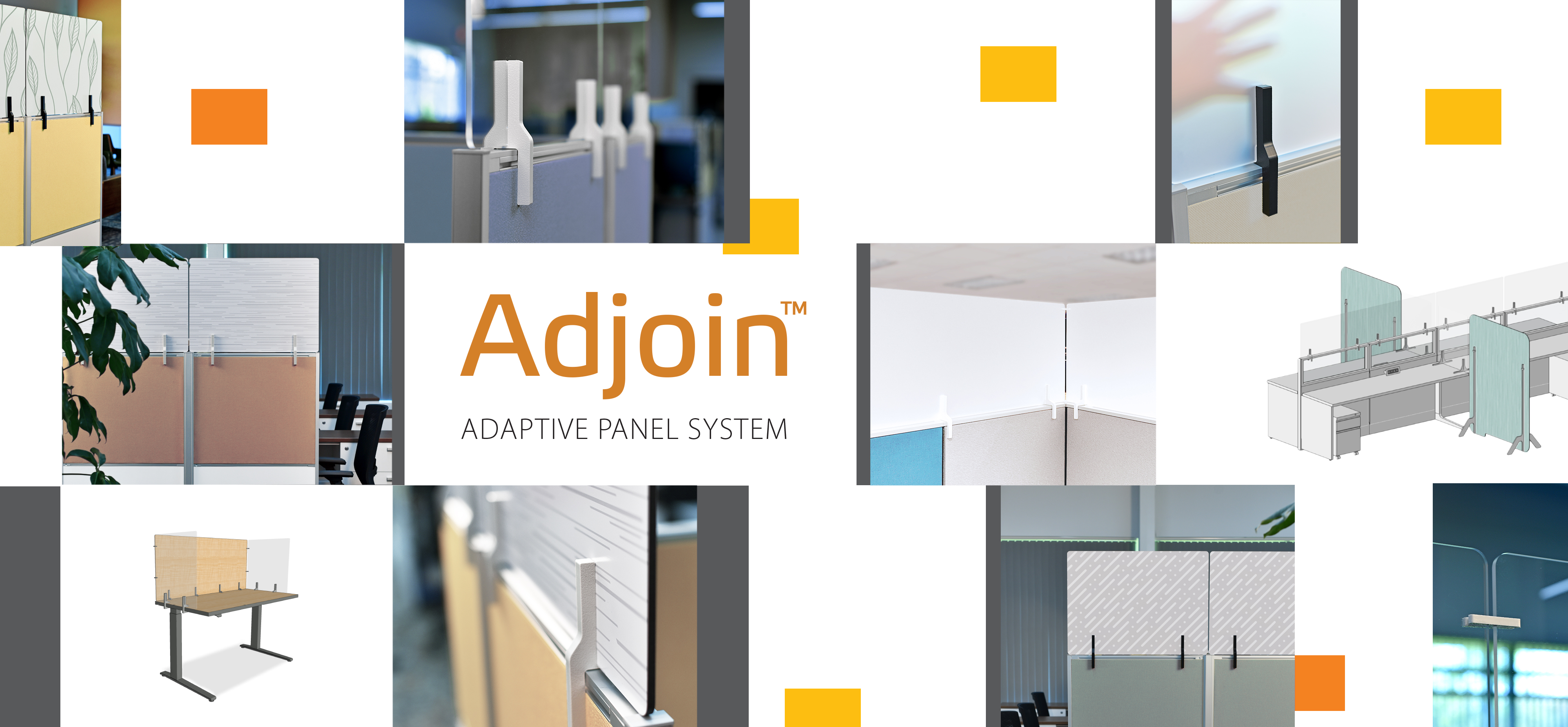 This Adjoin Adaptive Panel System for workstations home page image displays the creative options as well as the adapter that makes installation fast and easy.
