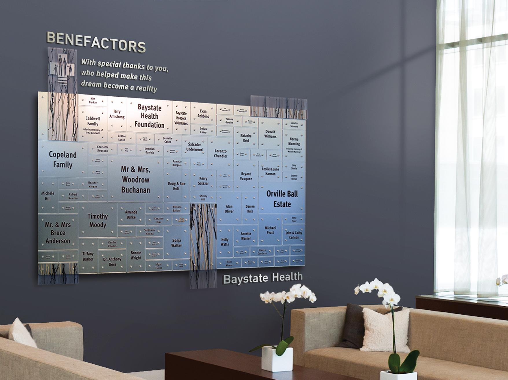 Photo of Baystate Health benefactor wall