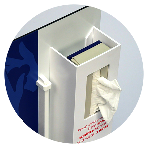 Top-view of Tissue dispensing PPE Station by Takeform