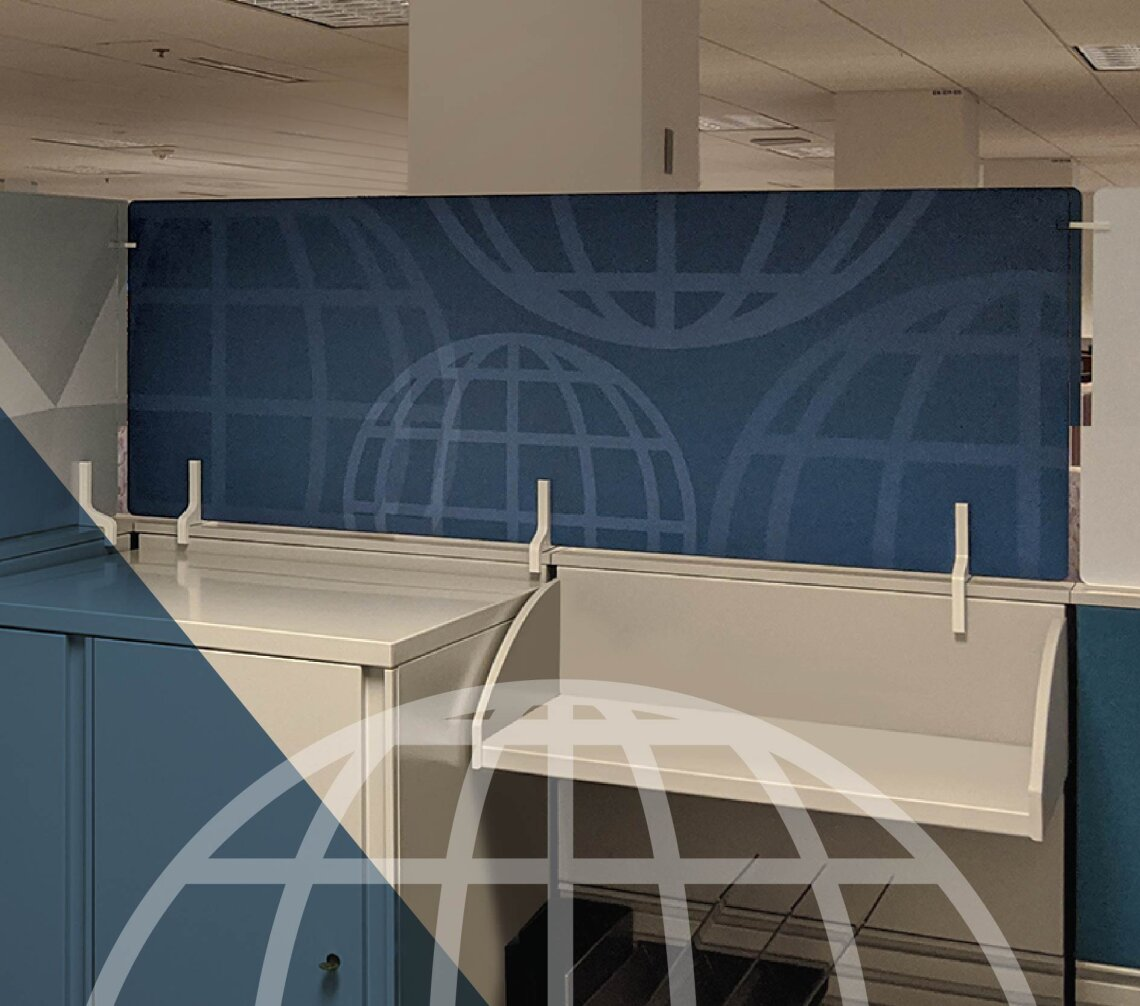 Modern office cubicle with printed partitions in blue