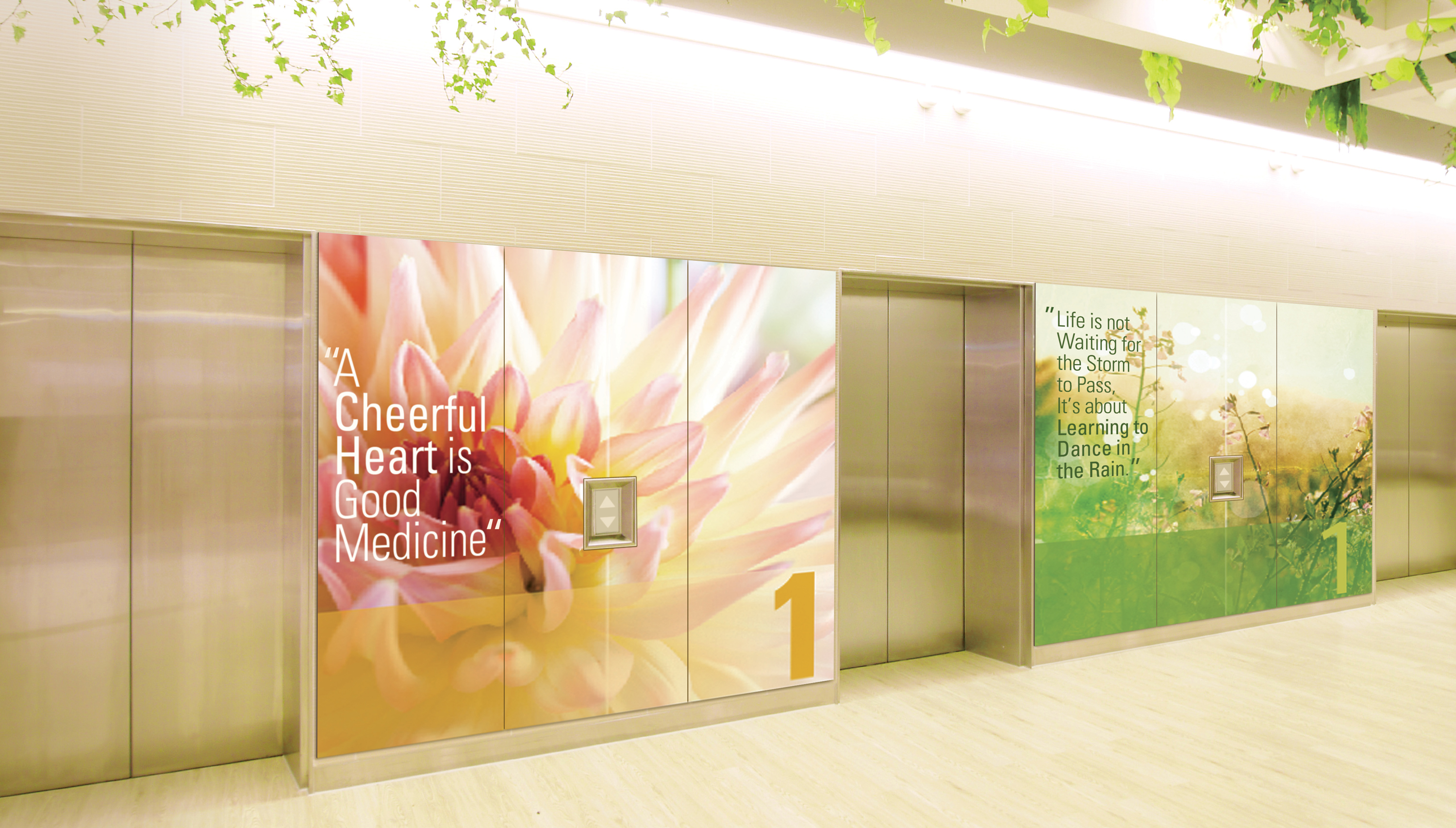 Photo of Moxie panels of flowers next to elevators in hospital