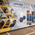 This recognition display celebrates the importance of all those who play a supporting role for those serving our country. It features Takeform's Moxie graphic panels, Amplify custom wall covering, and Ethos products, including engaging edgelit letters.