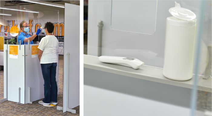 """Screening pass-though window and Built-in 5"""" utility shelf  keeps equipment readily accessible"""