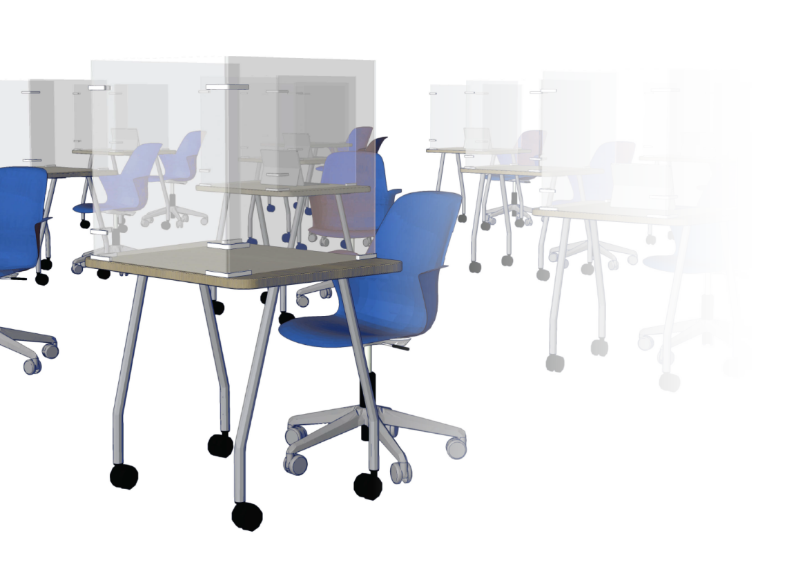 Blue office chairs at desks with 3-sided screens
