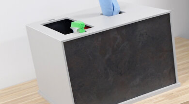 Countertop style cleaning station organizes cleaning supplies for easy access and an uncluttered look.