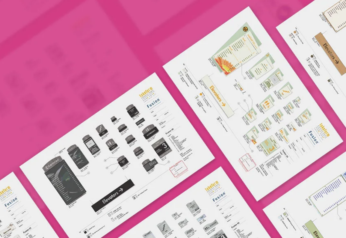 Takeform Spec Packages laid out like pattern on pink background