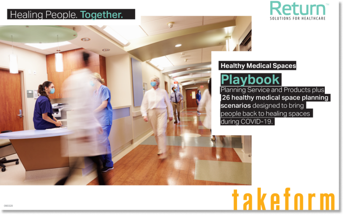 Return for Healthcare playbook cover: The playbook offers signage, accessories, and protective partitions to protect people from COVID-19 in medical facilities.