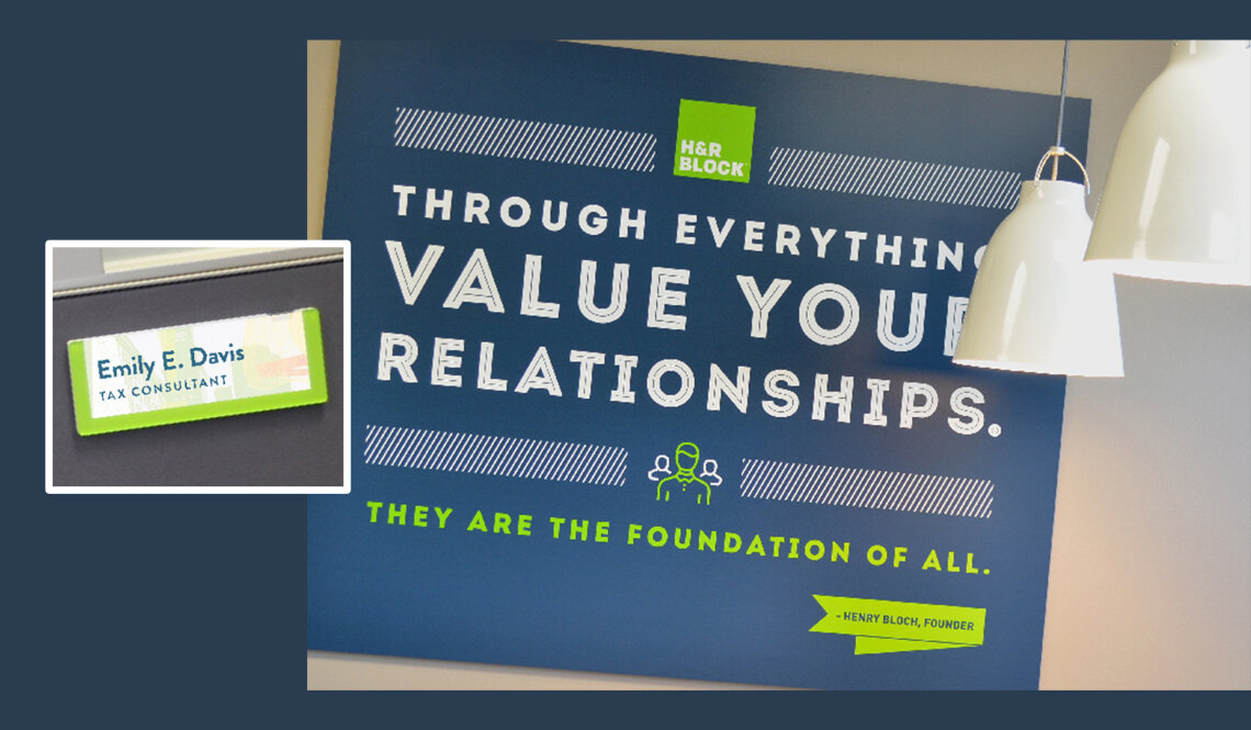 Wall graphic and cubicle signage for H&R Block