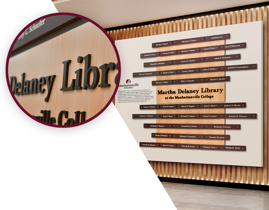 Wood inspired recognition display in modern library