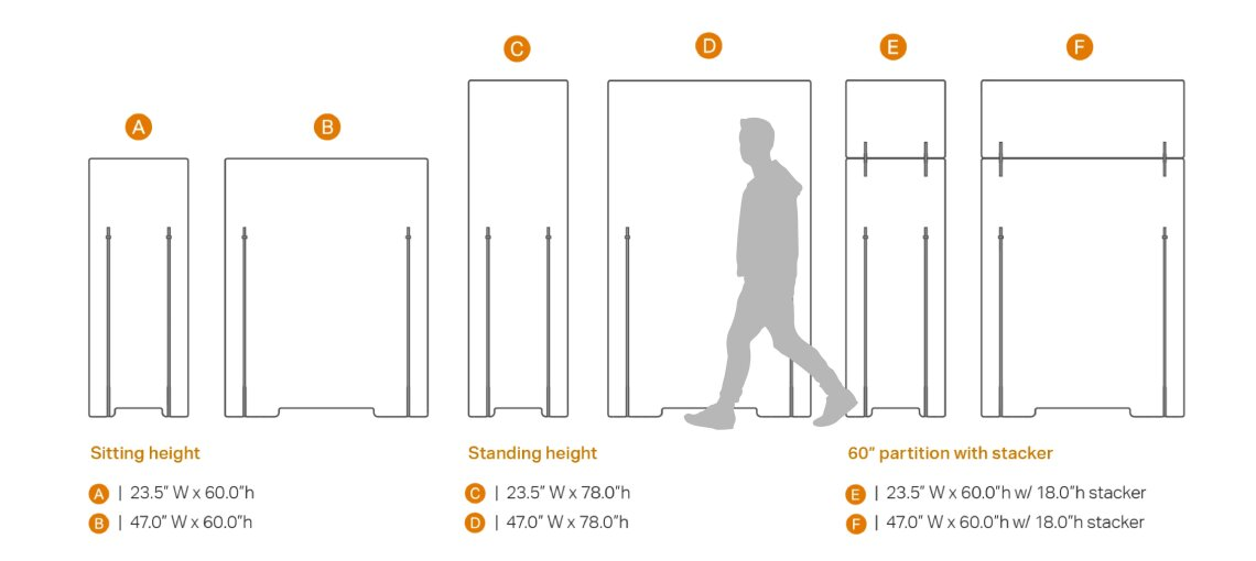 Drawing of the standard heights of Adjoin Freestanding partitions offered by Takeform