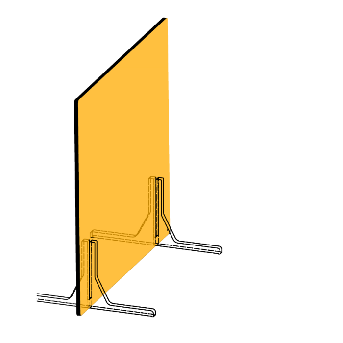 Line-drawing of freestanding desktop partition