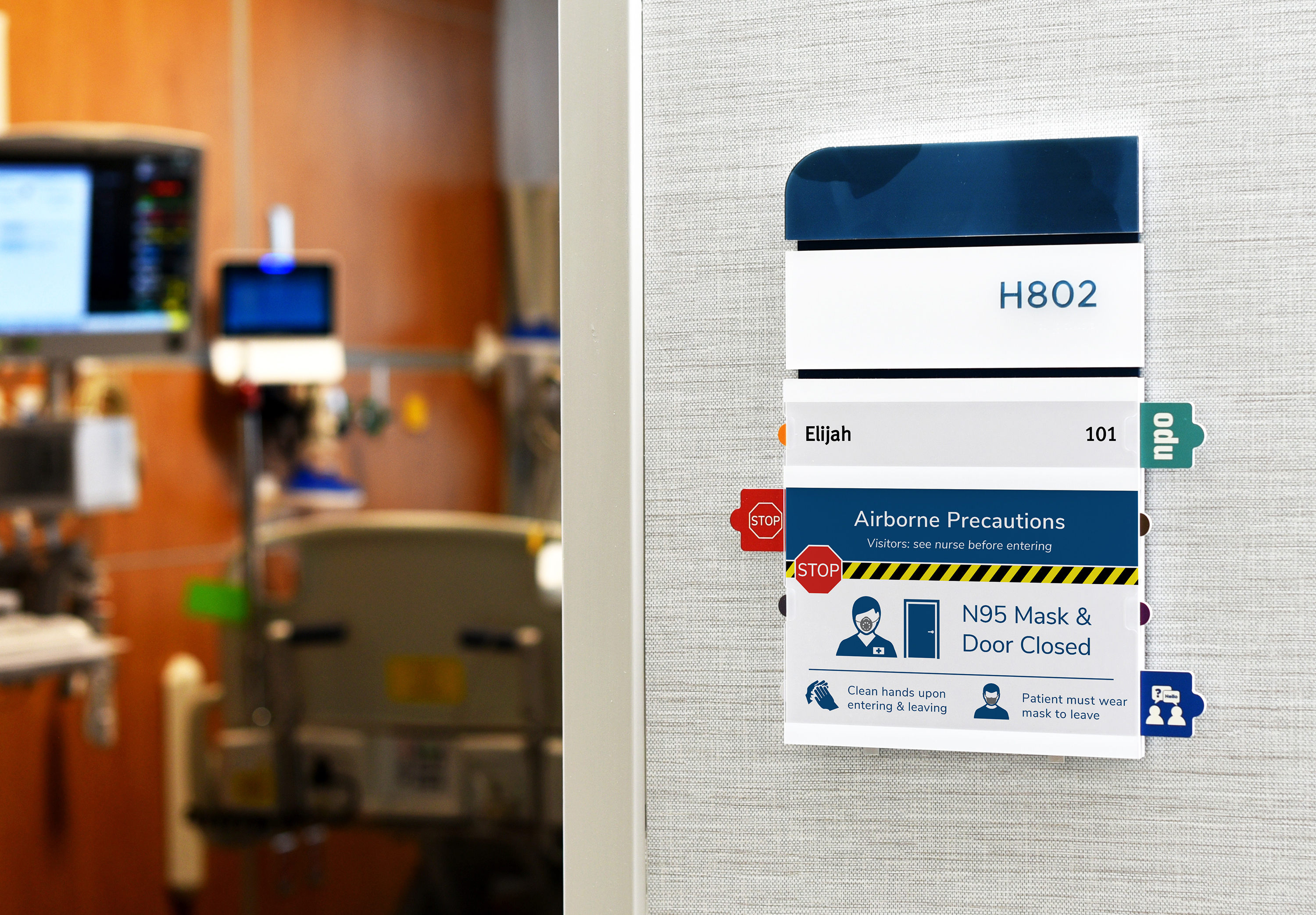 Attend patient room signs at Rochester General Hospital