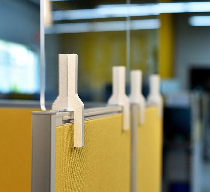 Detail photo of polycarbonate partition