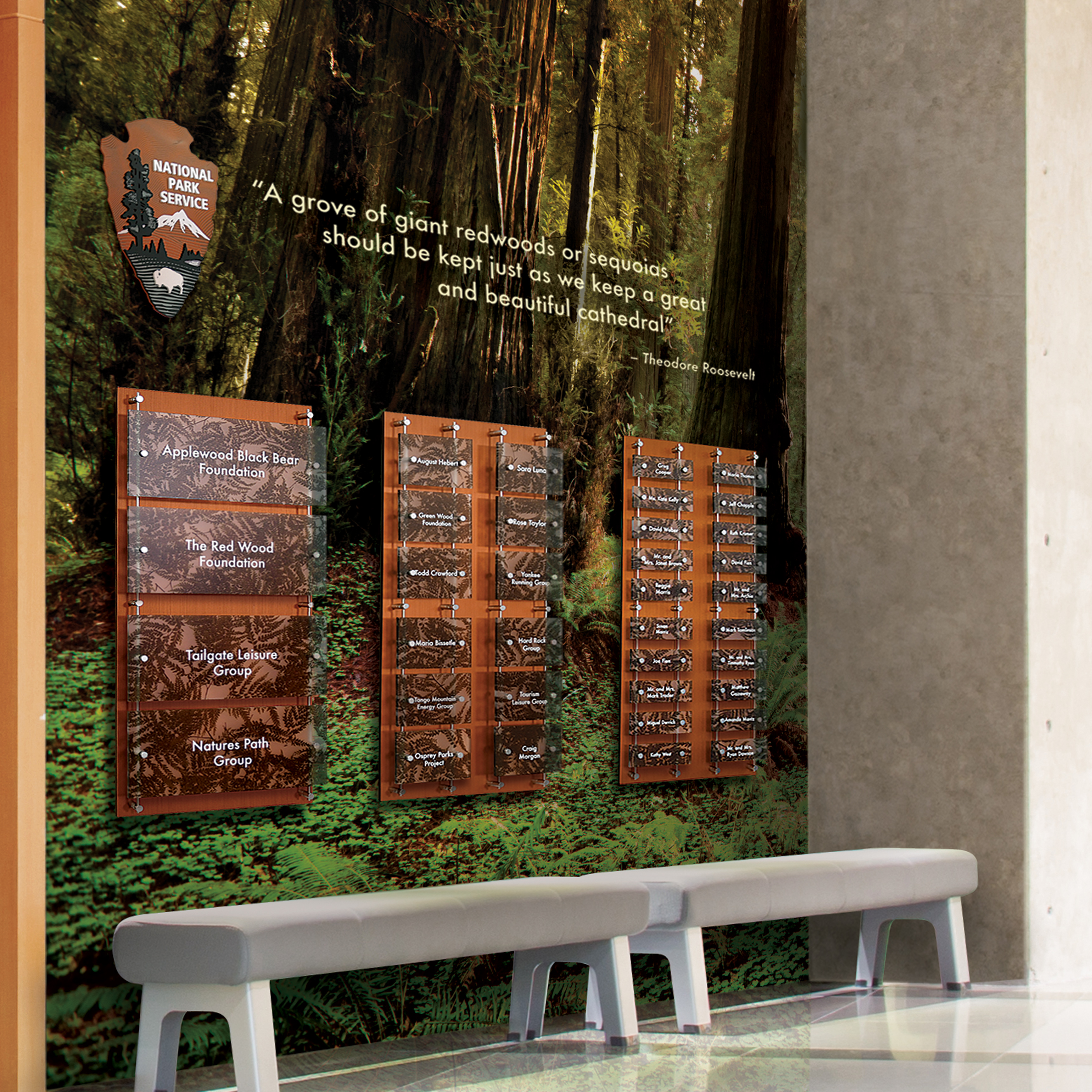 Photo of Applaud recognition wall at Redwood national Park