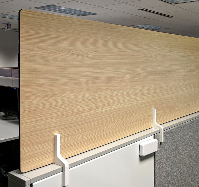 Protective workstation stacker partition panel with high-pressure laminate finish