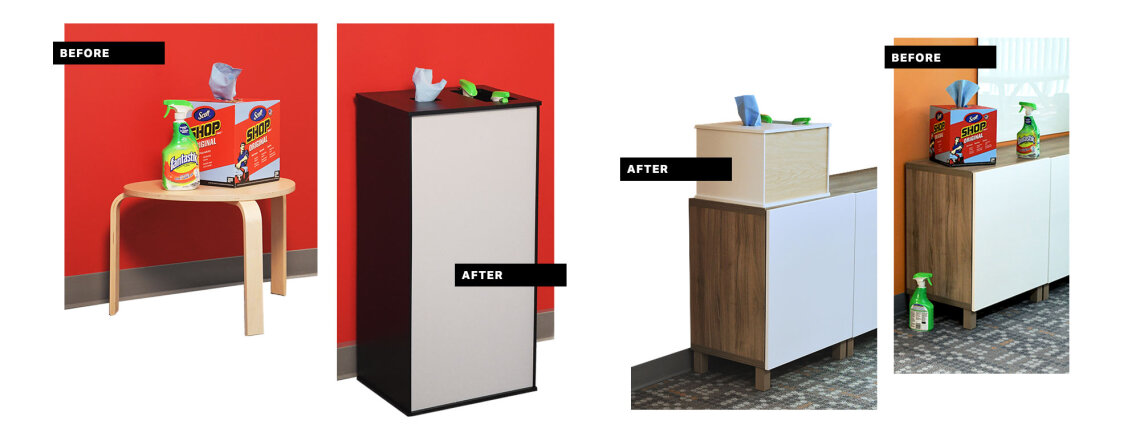 Before and Afters of Takeform's Cleaning Stations