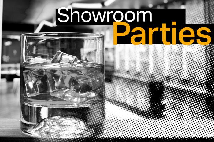 Drink on bar in showroom space
