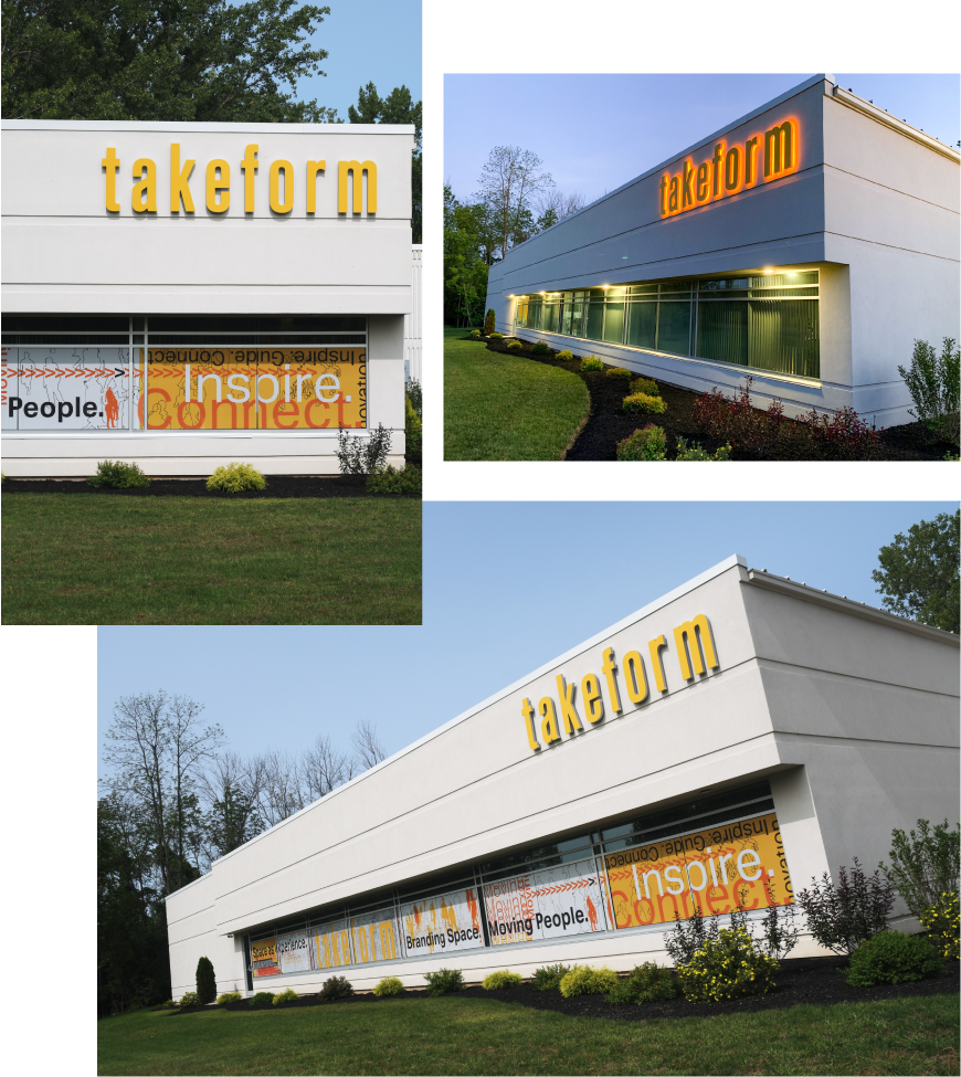 Exterior halo-lit on-building logo at Takeforms headquarters in Medina NY
