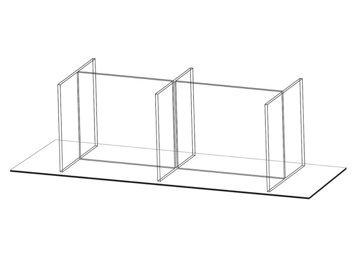 Tabletop protective partition for six seating locations